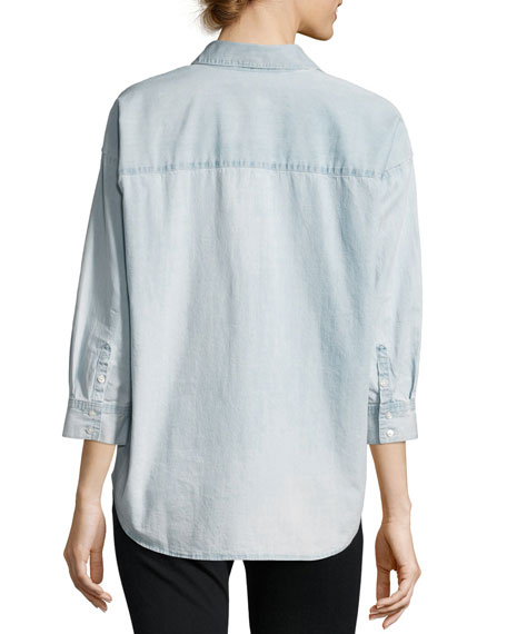 Freja Floral-Cutout Denim Shirt, Ella