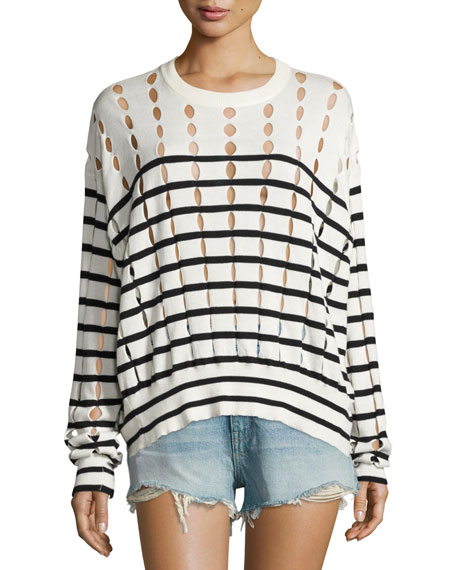 Striped Slit Crewneck Pullover Sweater, White/Blue