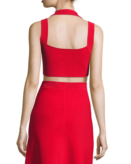 Sleeveless Matte Stretch Crop Top, Red