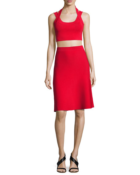 Stretch A-Line Flare Skirt, Red