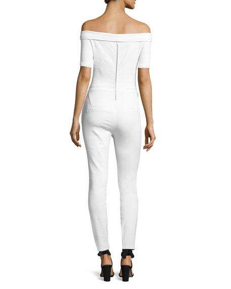 Off-the-Shoulder Denim Skinny-Leg Jumpsuit, Aspro