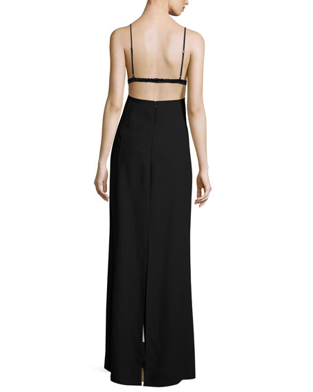 Sleeveless Open-Back Crepe Bralette Dress, Black