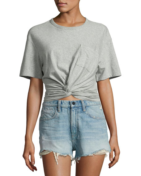 T by Alexander Wang Heathered Jersey Twist-Front Tee,