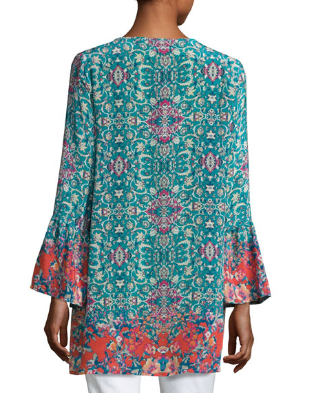 Belle Floral-Print Silk Tunic, Plus Size