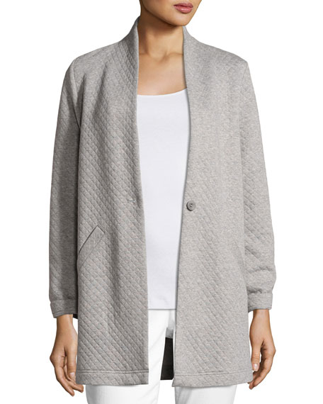 Eileen Fisher Double-Knit Long Diamond Jacket