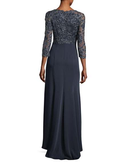 3/4-Sleeve Lace-Bodice Gown