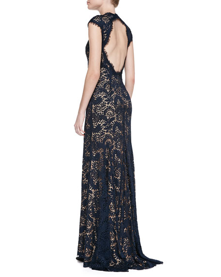 Cap-Sleeve Plunging V-Neck Embellished Lace Gown