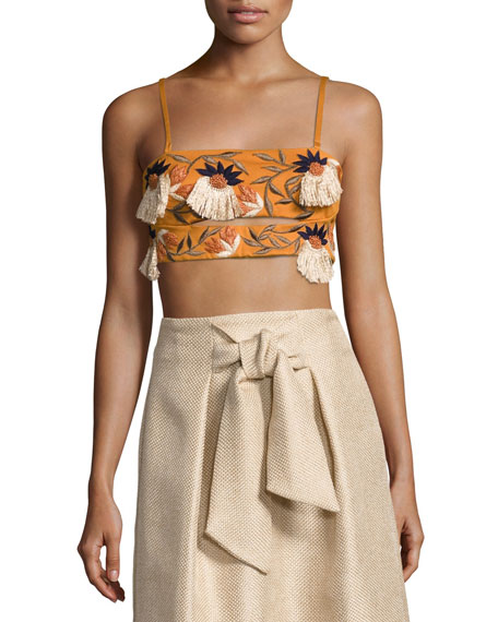 Josie Natori Embroidered Compact Knit Bralette, Bronze