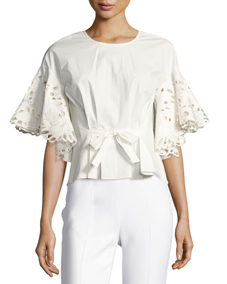 Josie Natori Ruffled Short-Sleeve Top w/ Embroidery, White