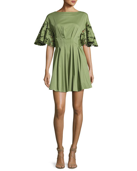 Josie Natori Ruffled Lace-Sleeve Stretch-Cotton Dress, Olive