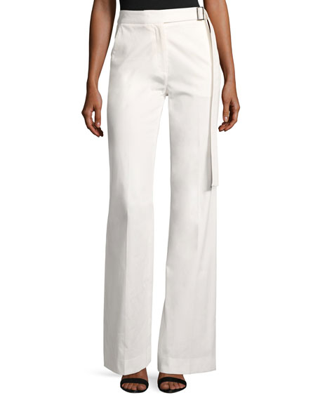 Josie Natori High-Waist Wide-Leg Stretch-Cotton Pants, White