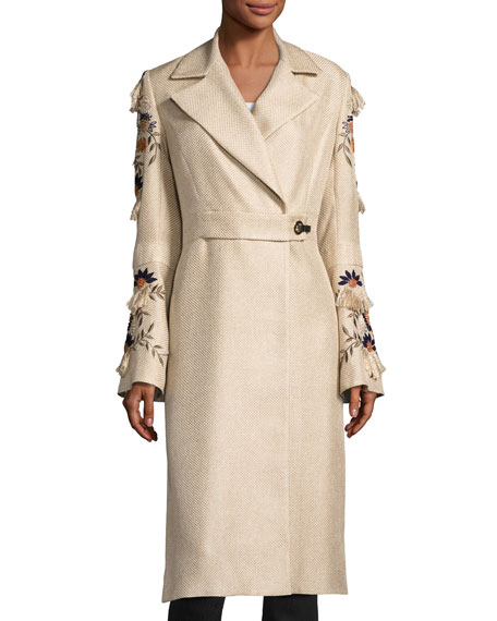 Josie Natori Long Trench Coat w/ Embroidered Bell