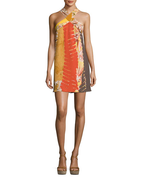 Josie Natori Graphic-Print Crepe Halter Dress, Multi