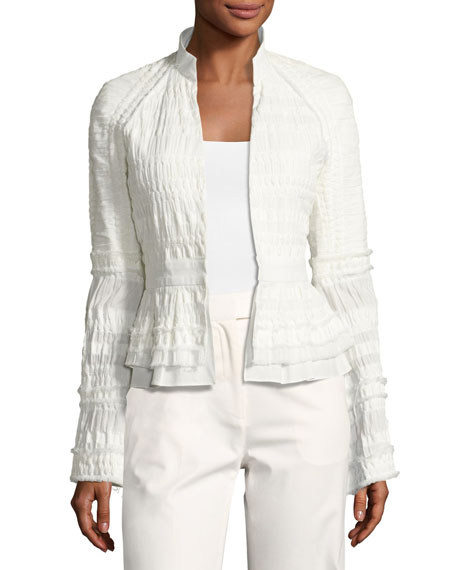 Josie Natori Textured Stretch-Cotton Peplum Jacket, White