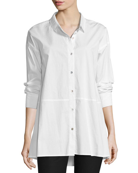 Eileen Fisher Organic Cotton Lawn Oversized Shirt, White,