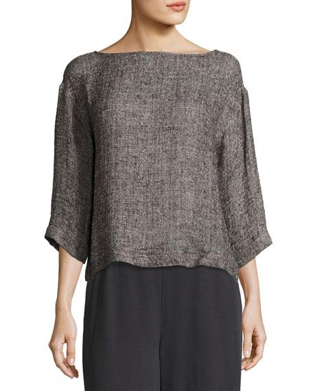 Eileen Fisher 3/4-Sleeve Gauzy Linen-Blend Box Top
