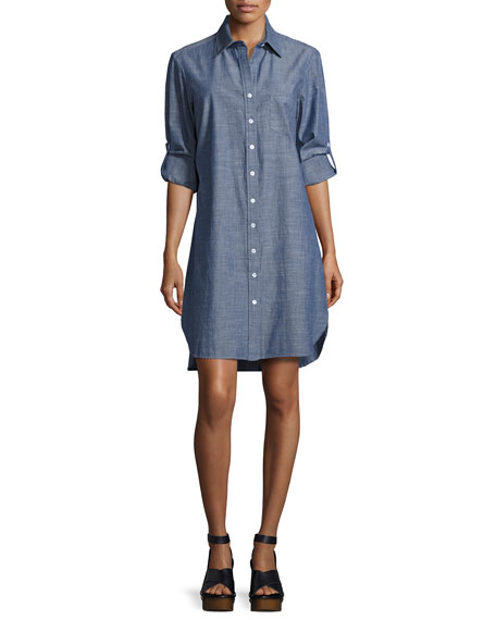 Alex Long-Sleeve Denim Shirtdress, Plus Size