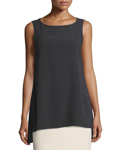 Eileen Fisher Sleeveless Silk Long Shell, Plus Size