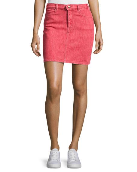FRAME Le Color Denim Pencil Skirt, Crimson
