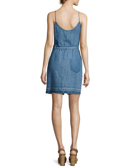 Carmela Chambray Button-Front Dress, Light Blue