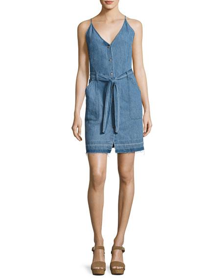 J Brand Carmela Chambray Button-Front Dress, Light Blue