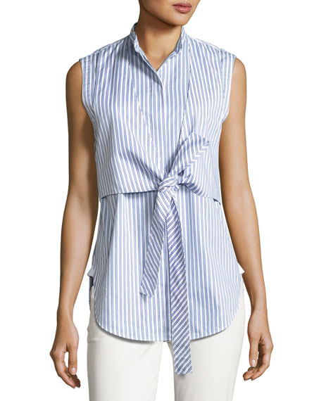 Sleeveless Striped Tie-Front Poplin Shirt, Blue