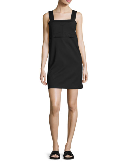 Helmut Lang Sleeveless Bralette Shift Dress, Black