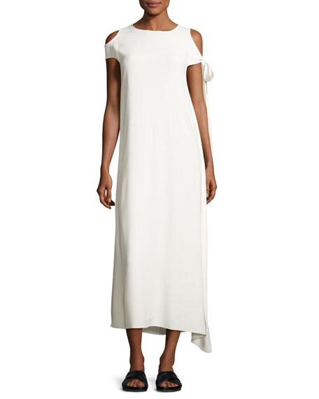 Helmut Lang Stretch Crepe Cold-Shoulder Midi Dress, Ivory