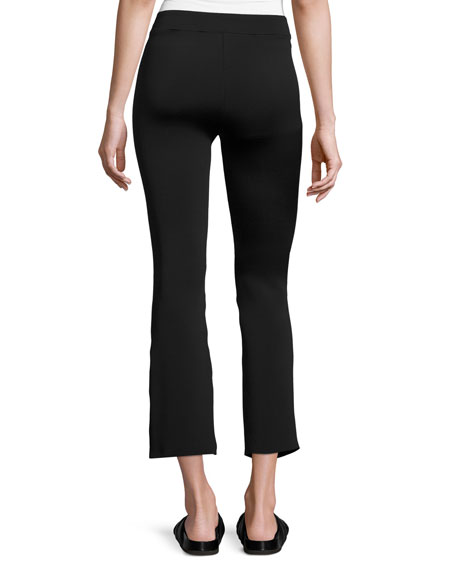 Cropped Flare Scuba Pants, Black