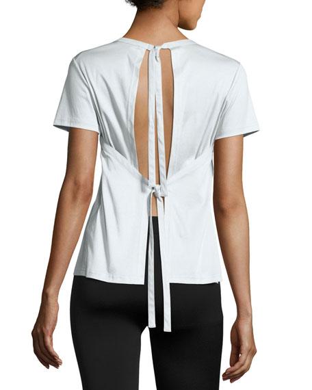Short-Sleeve Jersey Tie-Back Tee, Light Teal