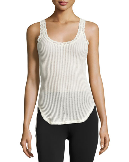 Helmut Lang Ribbed Cotton Lace-Trim Tank, Ivory