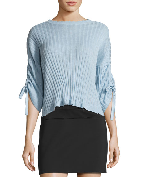 Helmut Lang Ribbed Cropped Cashmere Sweater, Light Blue