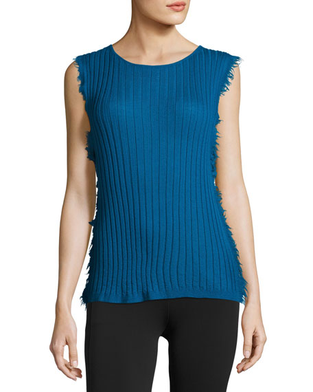 Helmut Lang Sleeveless Ribbed Cashmere Pullover Sweater, Blue