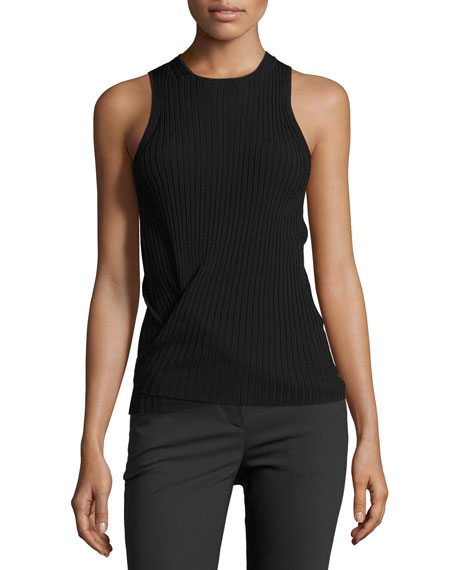 Helmut Lang Technical Tie-Hem Tank, Black