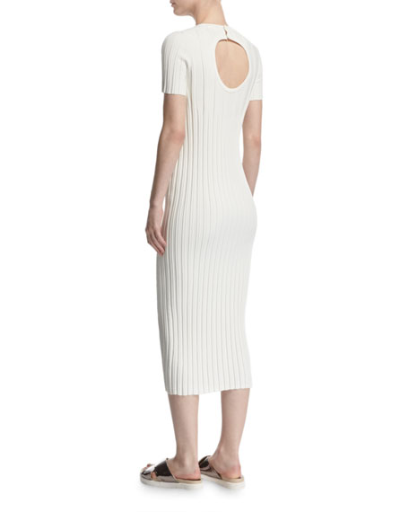 Rib-Knit Button Midi Dress, Ivory
