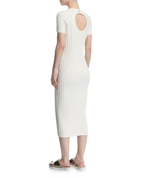 Rib-Knit Button Midi Dress, Ivory