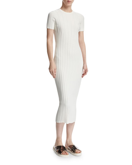 Helmut Lang Rib-Knit Button Midi Dress, Ivory