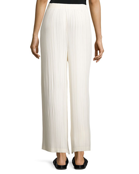 Cropped Wide-Leg Plissé Pants, Cream