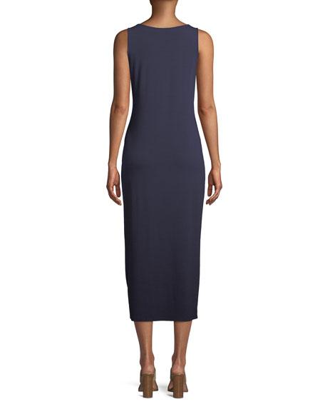Jersey Scoop-Neck Midi Dress, Black
