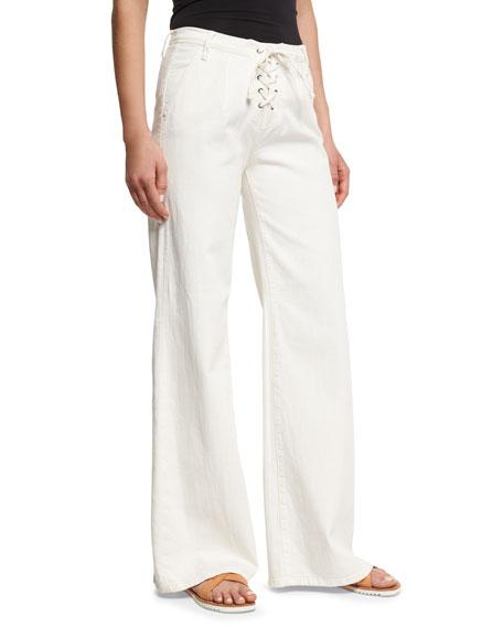 FRAME Le Capri Lace-Up Wide-Leg Jeans, Parchment