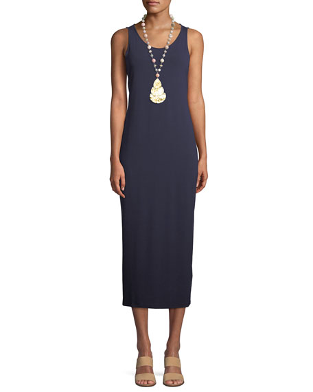Eileen Fisher Jersey Scoop-Neck Midi Dress, Black, Petite