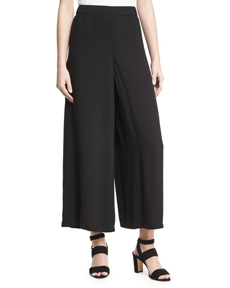 Eileen Fisher Drama Silk Georgette Wide-Leg Pants
