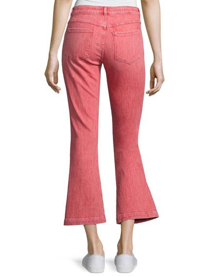 Le Color Crop Mini Boot-Cut Jeans, Crimson