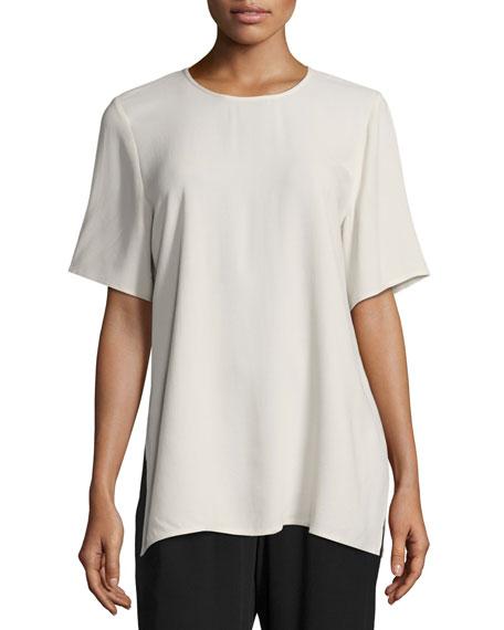 Short-Sleeve Silk Box Top