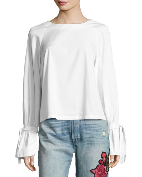 FRAME Voluminous Tie-Cuff Poplin Blouse, White