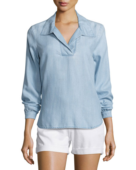 FRAME Tie-Back Collared Denim Blouse, Rowan