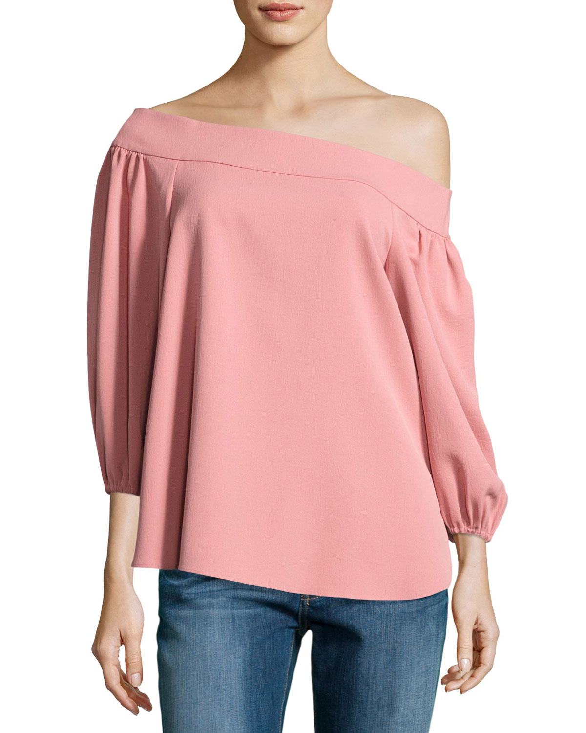 086242ac29789 Tibi Draped Twill Off-the-Shoulder Top