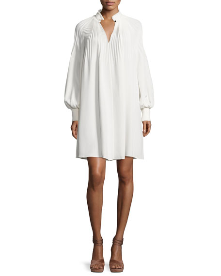 Tibi Edwardian Silk Plissé Tent Dress, Ivory