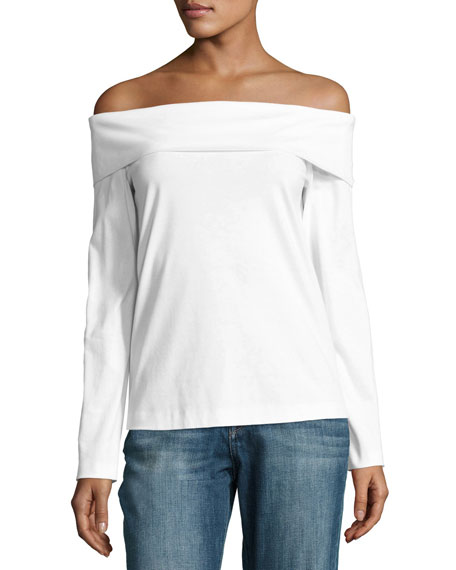 Mercerized Knit Off-the-Shoulder Top, White
