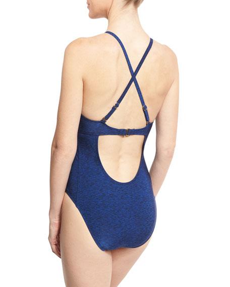 Midnight Rain High-Neck Cutout One-Piece Swimsuit, Blue